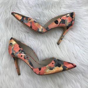 Floral printed D'orsay heels
